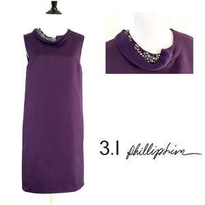 3.1 Phillip Lim Purple Embellished Satin Dress